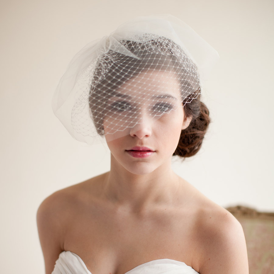 sell one like this wedding bridal ivory white net netting birdcage hair accessories veil tiara a3