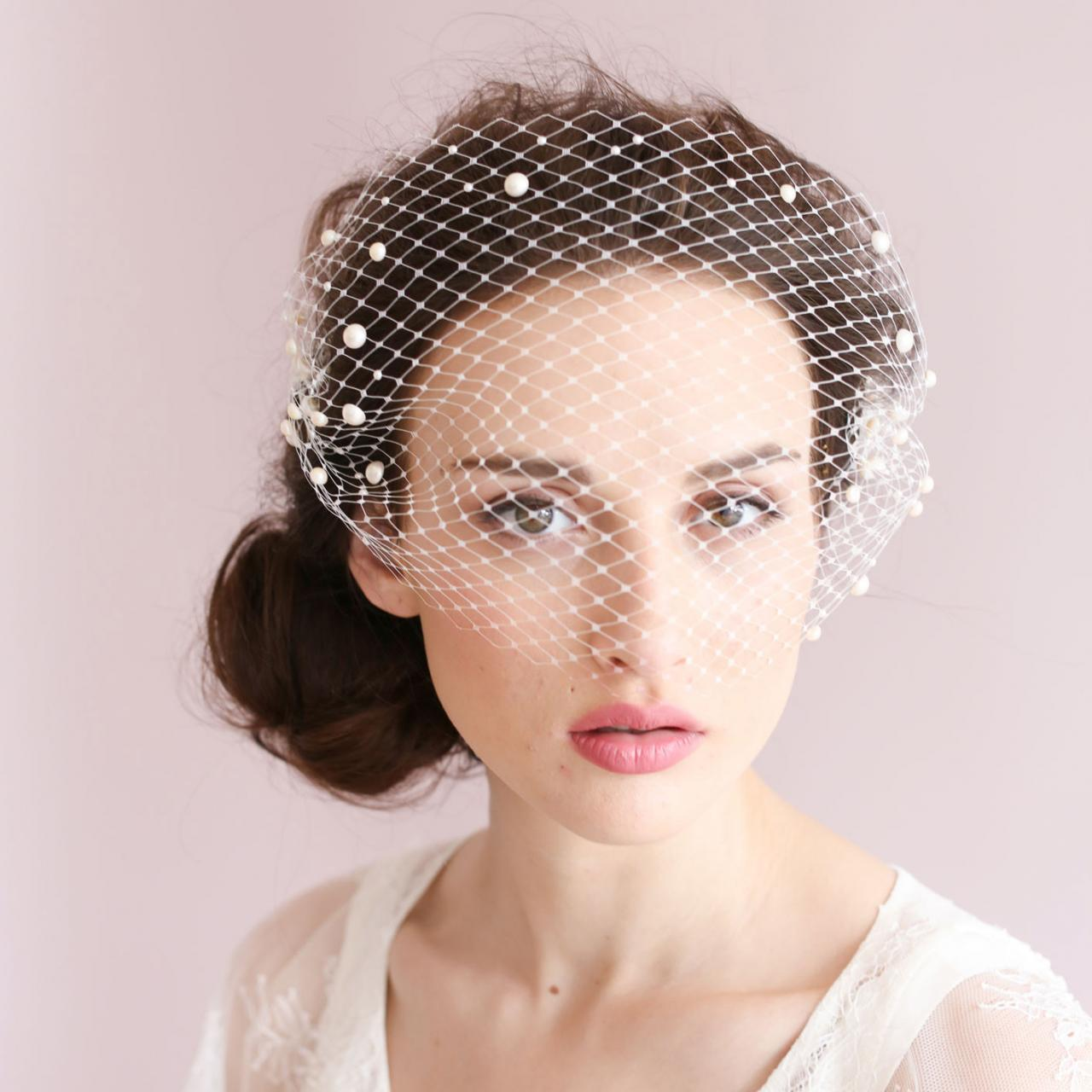wedding bridal ivory white net netting hair accessories veil tiara