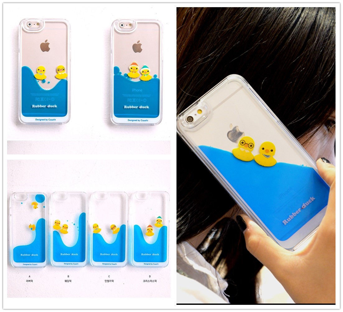 84abb8c18d iPhone 5 6 6 plus Duck Dynamic Liquid Hard Case Cover, Bling cute Cases  Swimming