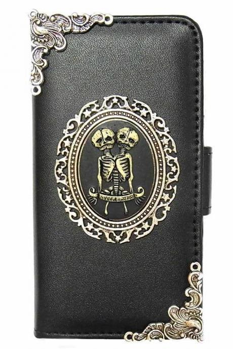 Samsung Galaxy S8 wallet, Vintage Twins Skull Samsung Galaxy S8 wallet leather case,Samsung Galaxy S8 Plus Wallet Leather Case, Vintage Twins Skull Samsung Galaxy S8 Plus Wallet Pouch Leather Case Cover