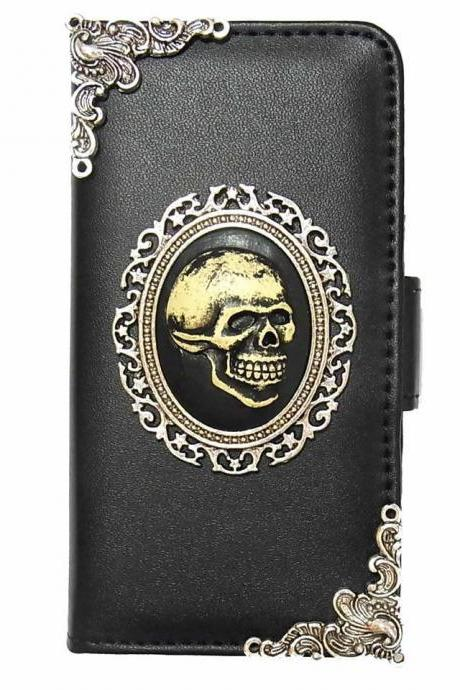 Skull iPhone 7 Wallet case,iphone 7 4.7 leather case, Skull iphone 7 Plus Flip Case,Vintage Skull iPhone 7 PLUS leather wallet case cover pouch A1 Black