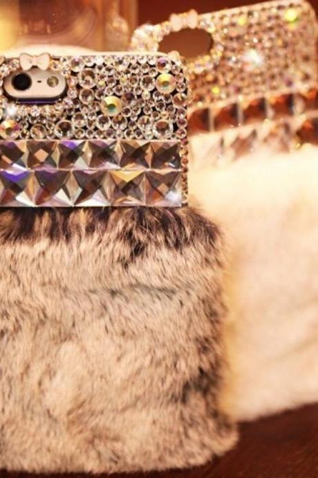 Luxury Bling Crystal Fur Furry iPhone 7 Skin Case Cover, Fur Furry iphone 7 Plus case, Luxury Bling Crystal Furry iphone 7 4.7 case cover, Fur Furry Bling Crystal iPhone 7 / 7 Plus Case Cover
