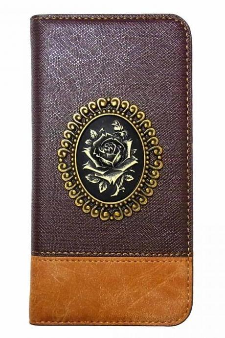 Rose Vintage iPhone 7 Wallet case,iphone 7 leather case,iphone 7 4.7 Flip Leather Case,Victorian Rose iPhone 7 PLUS 5.5 leather wallet case cover Brown